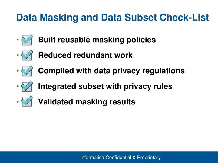Data Masking and Data Subset Check-List
