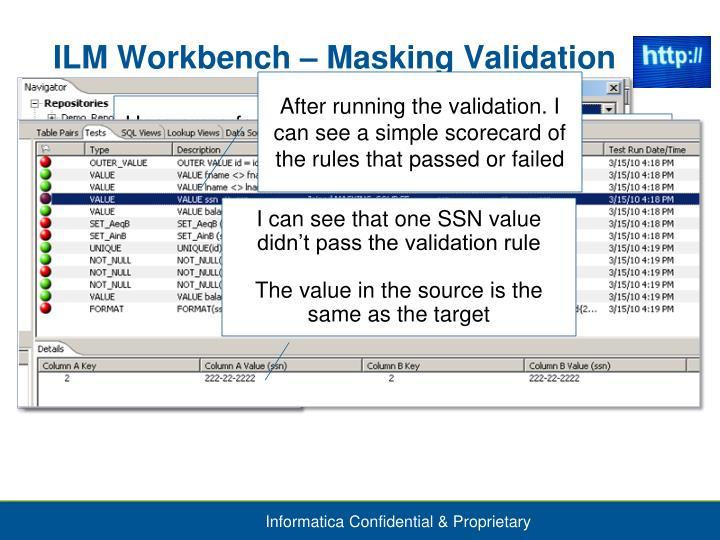 ILM Workbench – Masking Validation