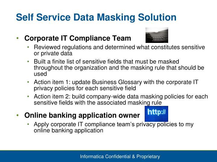 Self Service Data Masking Solution