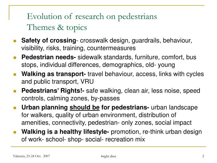 Evolution of research on pedestrians