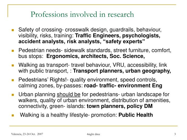 Professions involved in research