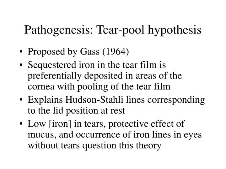 Pathogenesis: Tear-pool hypothesis