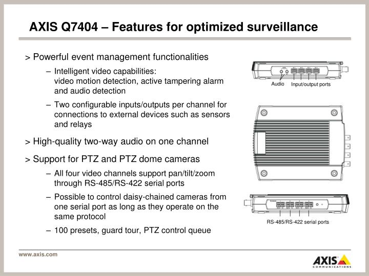 AXIS Q7404 – Features for optimized surveillance