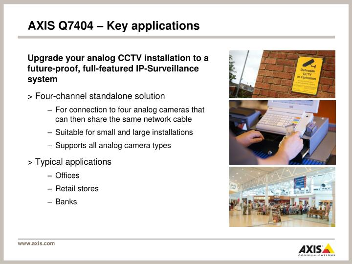 Axis q7404 key applications