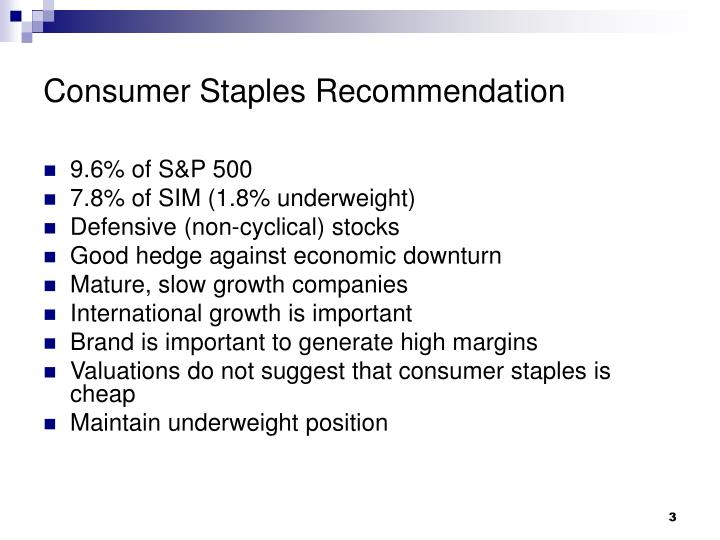 Consumer Staples Recommendation