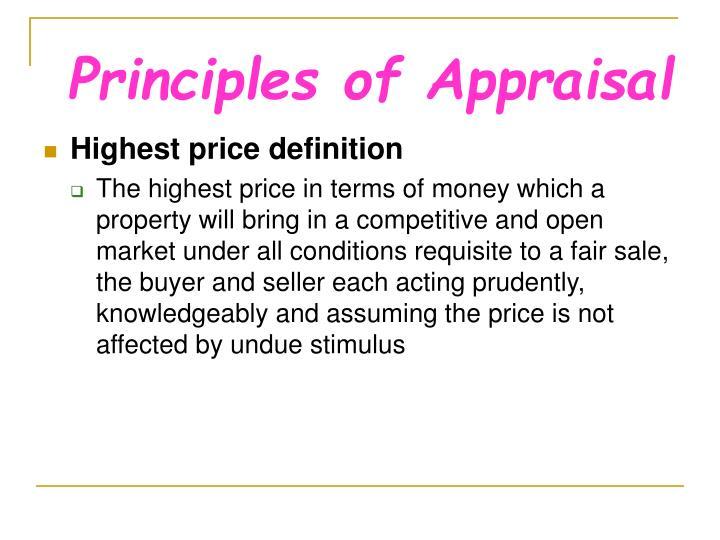 Principles of Appraisal