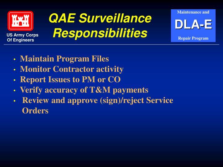 QAE Surveillance Responsibilities