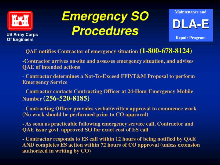 Emergency SO Procedures