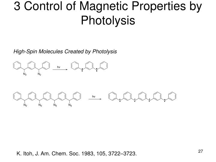 3 Control of Magnetic Properties by Photolysis