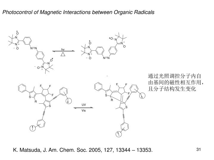 Photocontrol of Magnetic Interactions between Organic Radicals