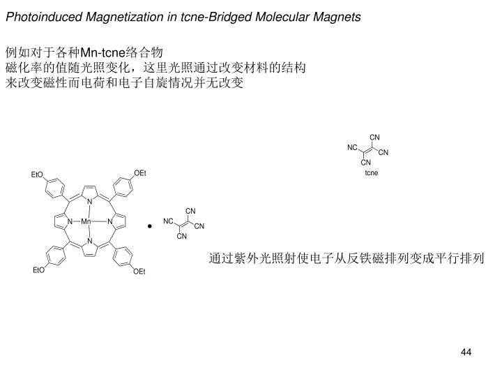 Photoinduced Magnetization in tcne-Bridged Molecular Magnets