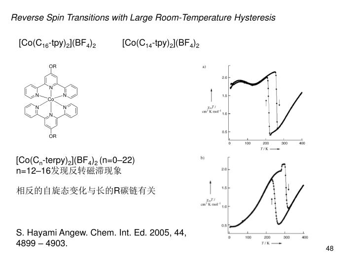 Reverse Spin Transitions with Large Room-Temperature Hysteresis