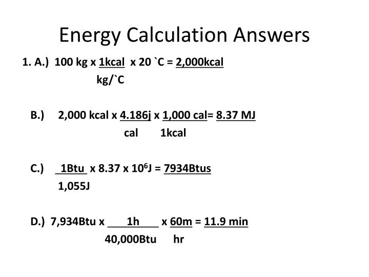 Energy Calculation Answers