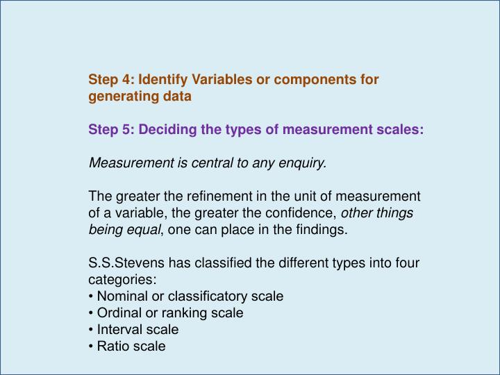 Step 4: Identify Variables or components for generating data