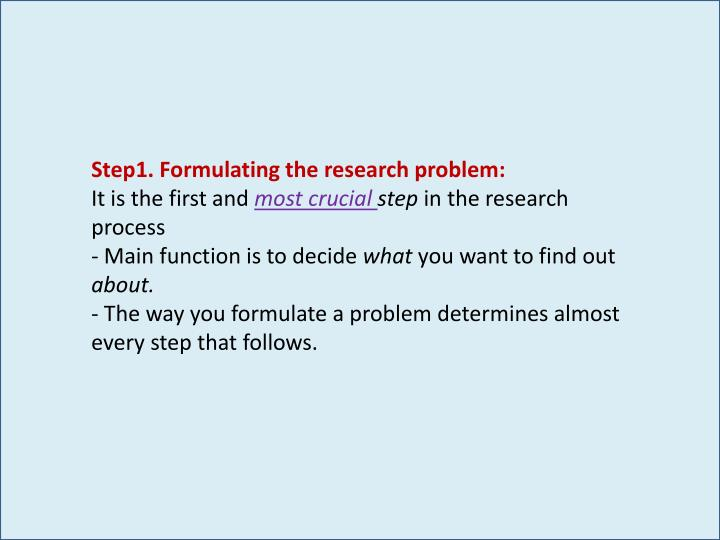 Step1. Formulating the research problem: