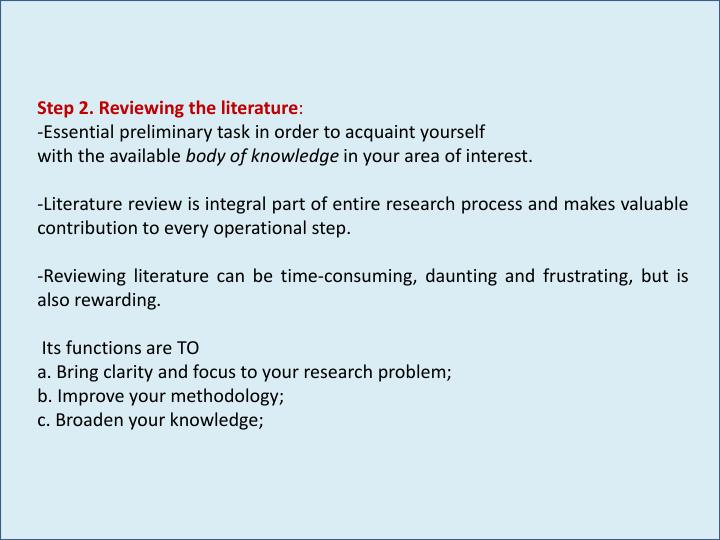 Step 2. Reviewing the literature