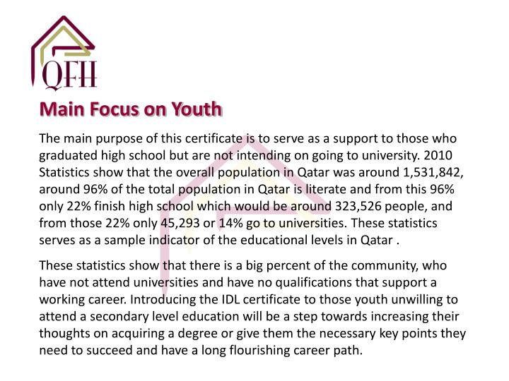 Main Focus on Youth