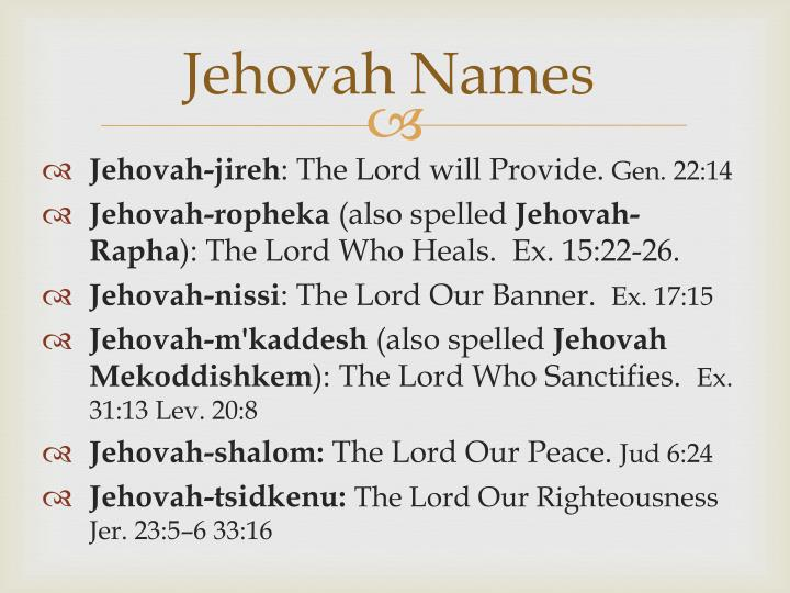 Jehovah Names