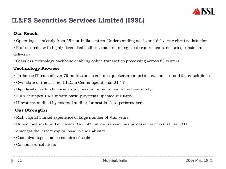 IL&FS Securities Services Limited (ISSL)