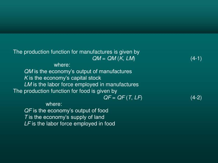 The production function for manufactures is given by