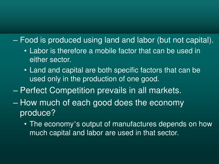Food is produced using land and labor (but not capital).