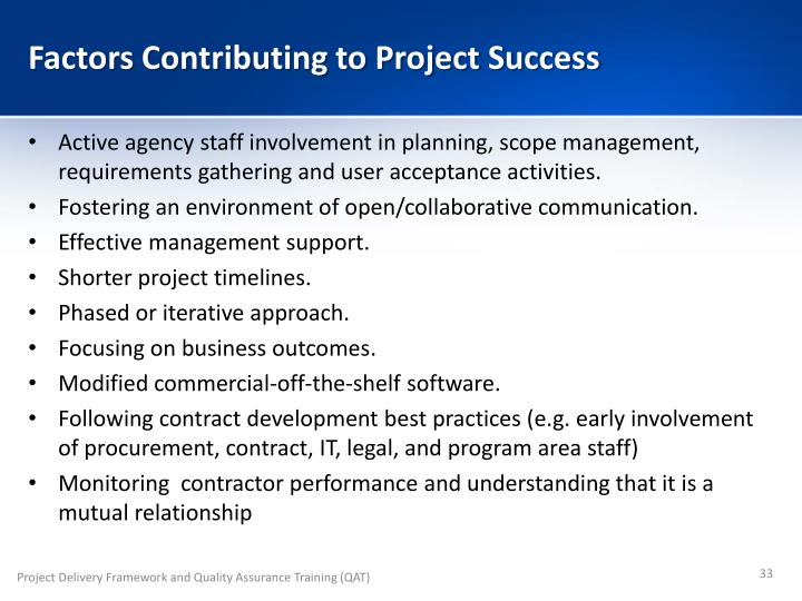 Factors Contributing to Project Success