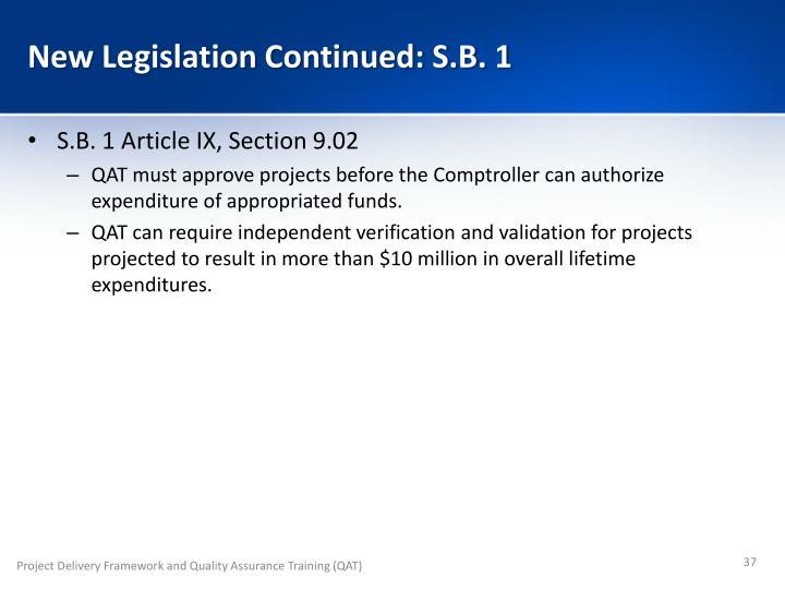New Legislation Continued: S.B. 1