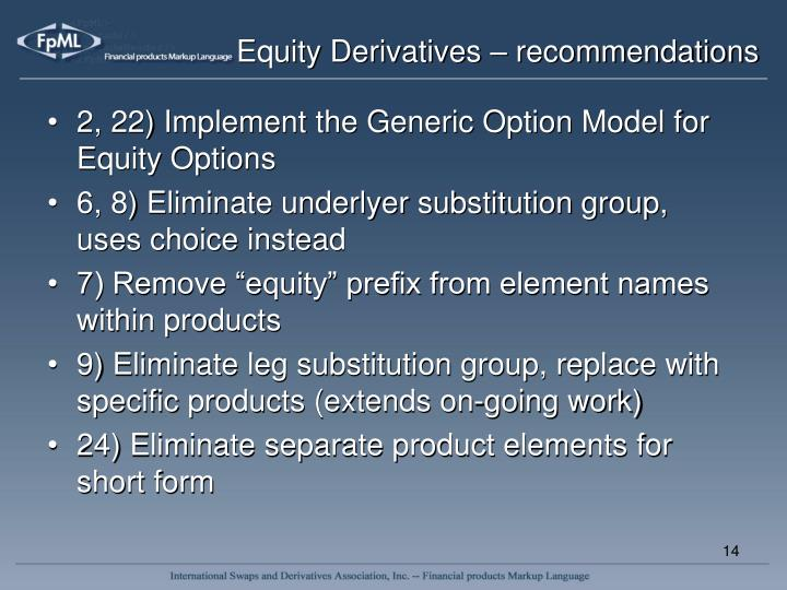 Equity Derivatives – recommendations