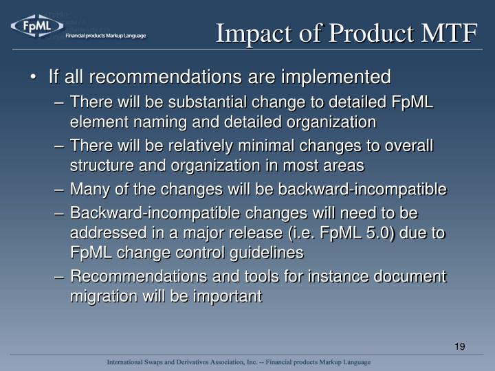 Impact of Product MTF