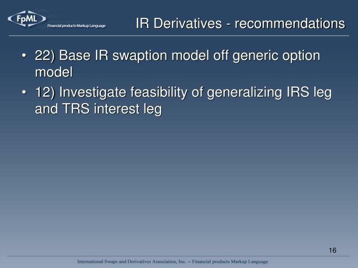 IR Derivatives - recommendations