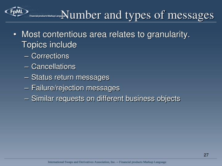 Number and types of messages