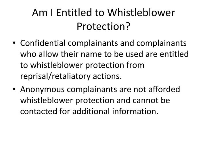 Am I Entitled to Whistleblower Protection?