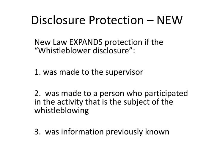 Disclosure Protection – NEW