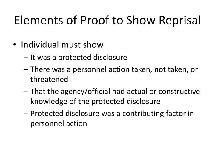 Elements of Proof to Show Reprisal