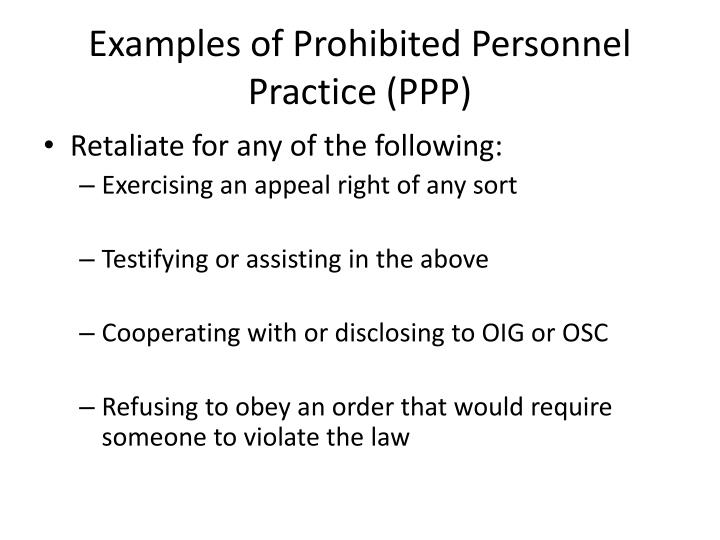 Examples of Prohibited Personnel Practice (PPP)