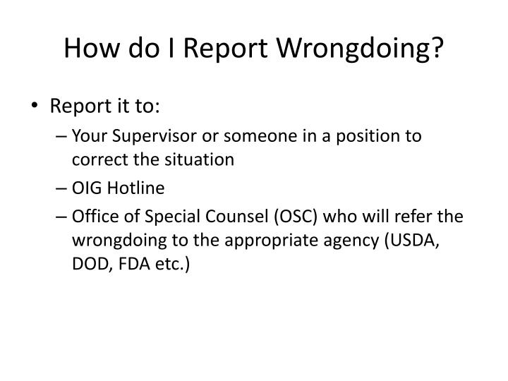 How do I Report Wrongdoing?
