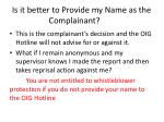 is it better to provide my name as the complainant