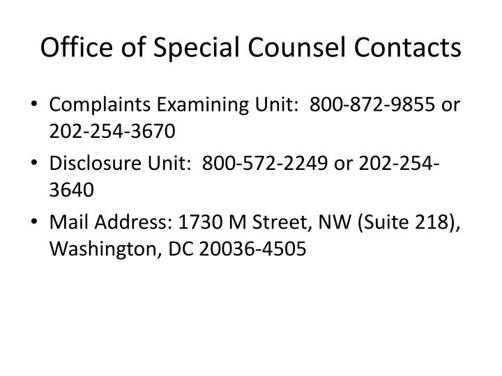 Office of Special Counsel Contacts