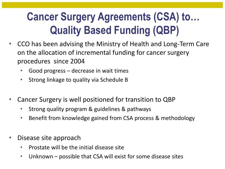 Cancer Surgery Agreements (CSA) to…