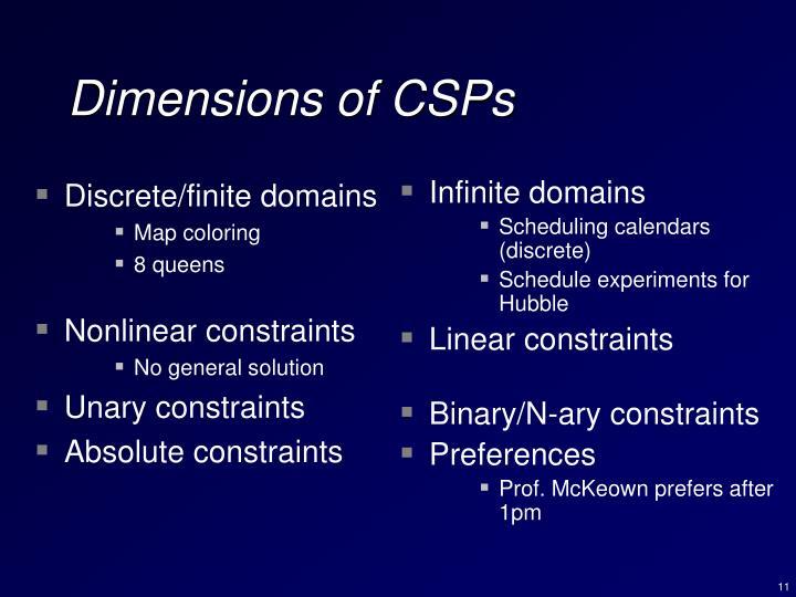 Discrete/finite domains