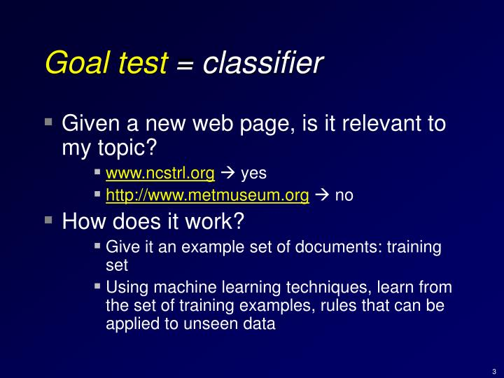 Goal test classifier