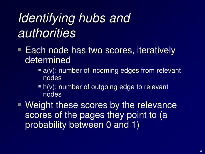 Identifying hubs and authorities