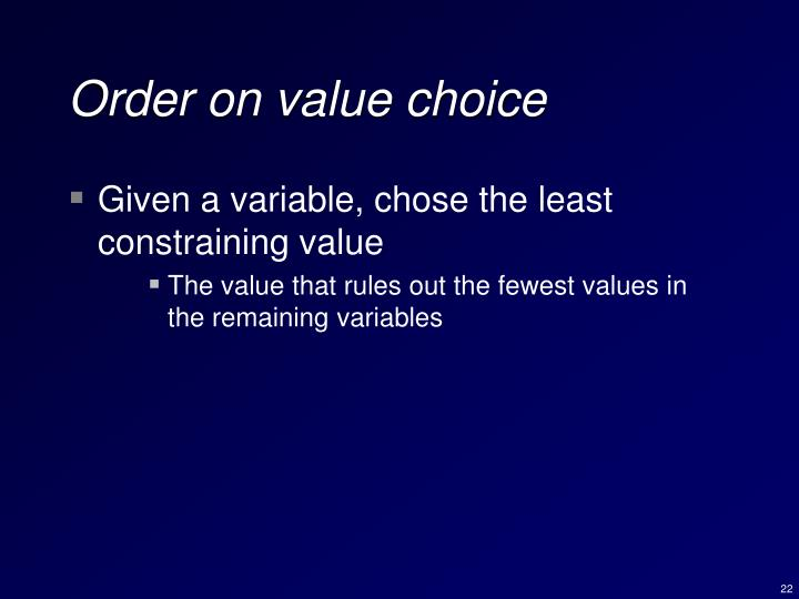 Order on value choice