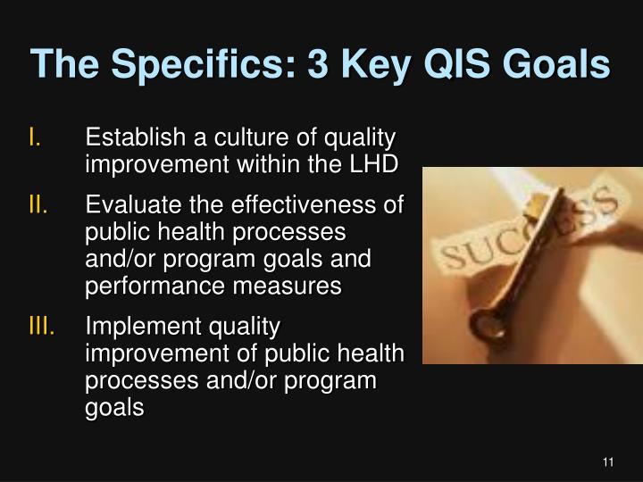 The Specifics: 3 Key QIS Goals