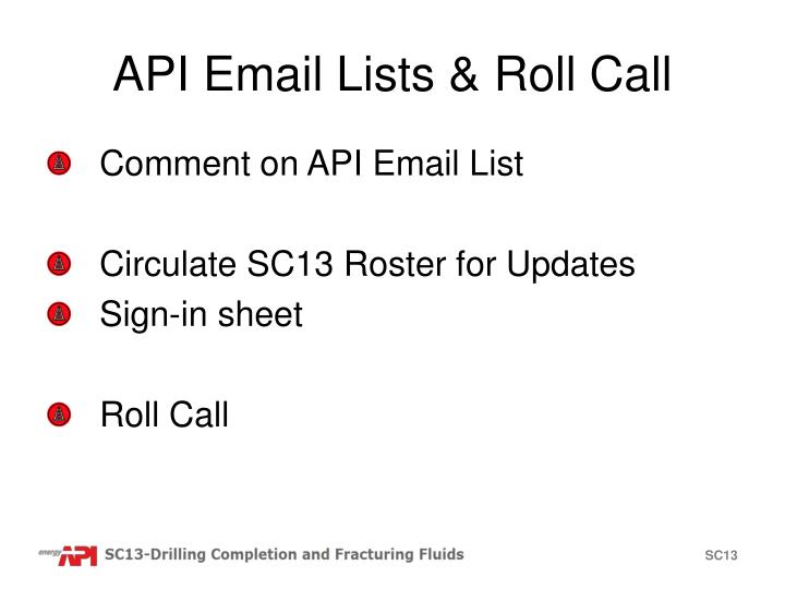 API Email Lists & Roll Call