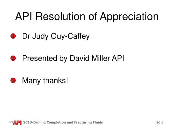 API Resolution of Appreciation