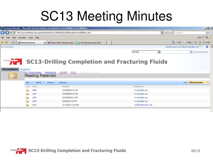 SC13 Meeting Minutes