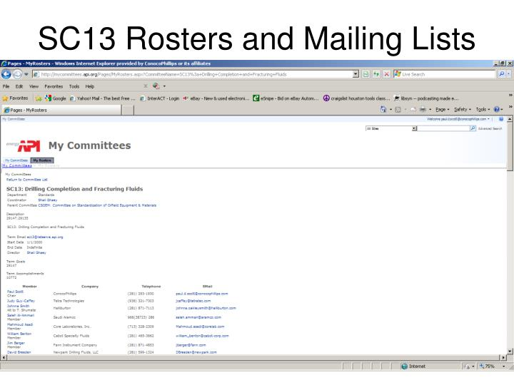 SC13 Rosters and Mailing Lists