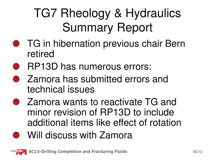 TG7 Rheology & Hydraulics