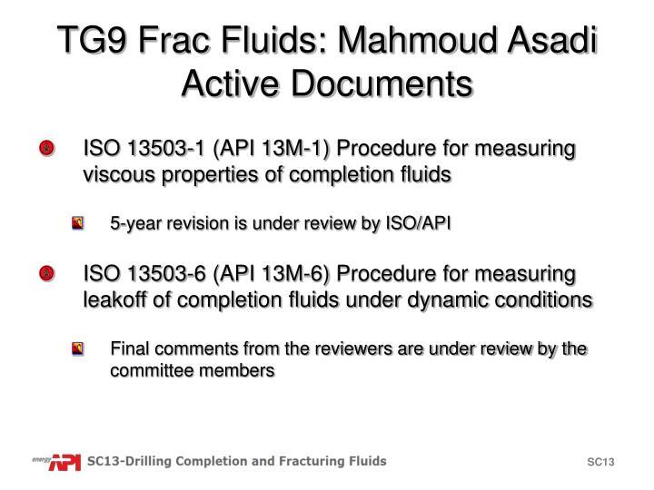 TG9 Frac Fluids: Mahmoud Asadi